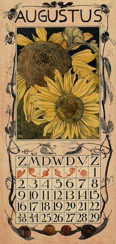 calendar 1903 augustus Theodoor van Hoytema (illustrator) Tresling & Co.(publisher)