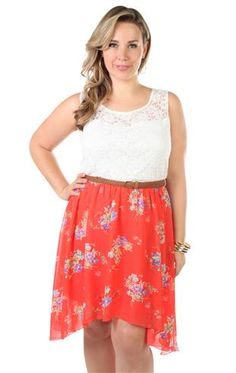 plus size floral printed lace chiffon detailed high low dress
