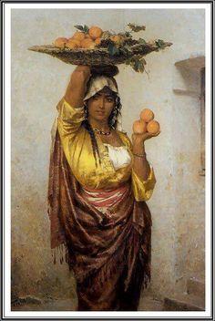 للفنان الألماني أدولف سيل في القرن الـ19 لأمرأه مصريه تبيع الفاكهه