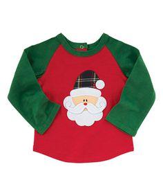 Love this Red & Green Santa Appliqué Raglan Tee - Infant on #zulily! #zulilyfinds