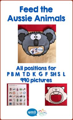 Feed the Australian Animals while working on speech targets.Included in the pack are pictures for b, p, m, t, d, k, g, f, sh, l & s in initial, medial and final positions.That's 990 articulation pictures.Every page is presented in colour and black and white to allow for maximum flexibility.