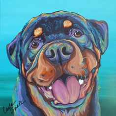 Rottweiler Rainbow Dog Art Original 10x 10 Canvas Painting-Carla Smale #Realism