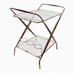Italian Brass & Glass Bar Cart, 1950s