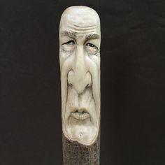 Wood Walking Stick Wood Spirit Carving Wood by JoshCarteArt