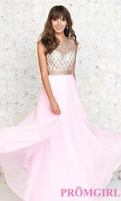 Floor Length High Neck Madison James Dress at PromGirl.com