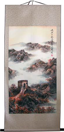 """Giant 63"""" Wall in Mist Chinese Print Scroll"""
