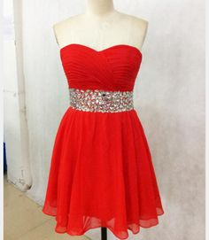 Mini Party Dress, Red Prom Gown, Tulle Beaded