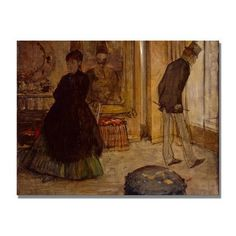 "Trademark Art ""Interior with Two Figures"" by Edgar Degas Painting Print on Canvas Size:"