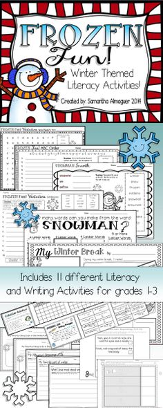 This unit is a GREAT way to welcome your students back from Winter Break!  It includes 11 different Literacy and Writing Activities that can be easily adapted for grades 1-3. #frozen #winterunit #winteractivities