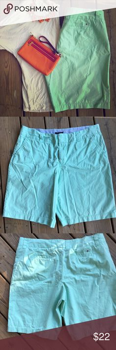 ⚓️Just In⚓️ Tommy Hilfiger Mint Green Bermudas Love this color, totally on trend.  Worn just once.  Change the look by rolling the legs for something different Tommy Hilfiger Shorts Bermudas