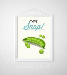 Vegetable Kitchen Print  Oh Snap  Poster art decor by noodlehug cooking peas pea pod green veggie vegan vegetable pun modern minimal fun funny aqua funny kitchen pun print vegan gift