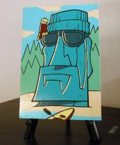 Northwest Moai Original Acrylic Painting on an by RobKramerArt, $50.00