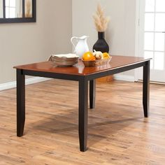 Solid Hardwood Two Tone Cherry/Black Dining Table - Seats up to 6