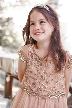 "***DELIVERY MID-MARCH*** The ""Penelope"" Dress is a pinkish beige color, two piece dress perfect for your next special occasion. Gold Flower Girl Dresses, Little Girl Dresses, Flower Girls, Bridesmaid Dresses, Wedding Dresses, Bridesmaids, Two Piece Dress, Mode Vintage, Sequin Dress"