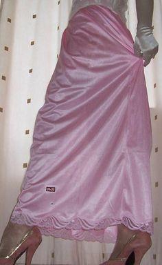 Long Pink Half Slip White Satin Gloves and Pink High Heels