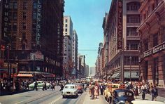 Seventh and Broadway Sts., in Downtown Los Angeles, CA 1950's.  Courtesy of It's Better Nathan Bad.