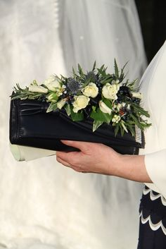 Flower Design Events: Black and White Handbag Corsage for Bride's Mum