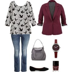 A fashion look from January 2015 featuring plus size tops, plus size jackets and plus size jeans. Browse and shop related looks.