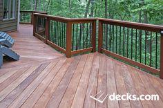 Exotic Hardwood decking installed diagonally.  Black aluminum balusters railing. Deck Railing Design, Deck Railings, Deck Design, Hardwood Decking, Deck Pictures, Decking Material, Deck Builders, New Deck, Deck Plans