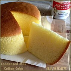 My Mind Patch: Condensed Milk Cotton Cake 炼乳棉花蛋糕 Asian Desserts, Just Desserts, Delicious Desserts, Dessert Recipes, Crepe Recipes, Chiffon Cake, Condensed Milk Cake, Recipes With Condensed Milk, Cotton Cake