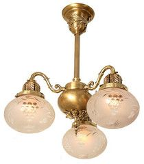 Antique Circa 1910 3 Light Cast Scroll Arm Fixture with Antique Shades | Turn of the Century Lighting