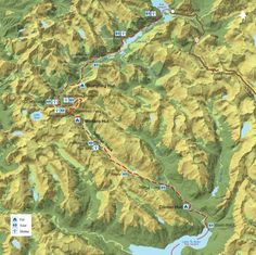 Milford Track map, south island, new zealand Milford Track, New Zealand Landscape, South Island, Camping And Hiking, Day Hike, Parks And Recreation, Dumpling, Geography, Adventure Time
