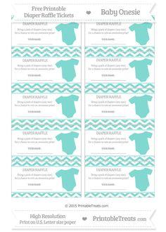 Free Tiffany Blue Chevron Baby Onesie Diaper Raffle Tickets