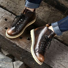 High-quality Large Size Vintage Color Match Ankle High Top Leather British Style Boots - NewChic Mobile.