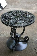 Table made from bike chains and gears