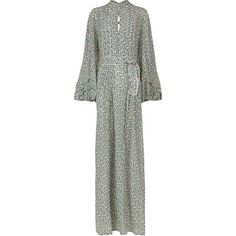 Talitha Multi Floral Bianca Maxi Dress (£945) ❤ liked on Polyvore featuring dresses, long white maxi skirt, long sleeve maxi dress, neck ties, floral maxi dress and summer maxi skirts