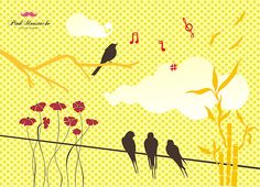 bird on wire and clouds vector