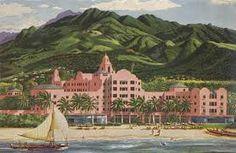 Royal Hawaiian Hotel, Hawaii Travel Art Print - 61 x 46 cm Hawaiian Art, Vintage Hawaiian, Waikiki Beach, Ocean Beach, Hawaiian Islands, Hawaii Travel, Oahu, Vintage Travel, Travel Posters