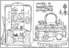 Spell room colouring page