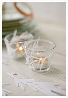 diy paper leaf candle wrap