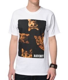 Improve your comfort and your mood with the lightweight tagless cotton design with 4 cat heads and Ratchet text graphic at the chest.