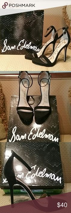 Classic Sam Edelman Summer Sandals Beautiful Sam Edelman Summer sandals in Black Velvet suede type material. Perfect condition worn one time. Adjustable ankle strap with 3.5 inch heels. A perfect staple for every closet for any summer fashion. If you're looking for perfect black and white I will be listing a pair of white sandals as well. I model shoes so I have the great benefit of sharing them with my Poshmark clients. Sam Edelman Shoes Sandals