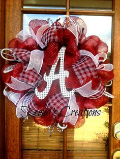 Ready for another Championship Football Season… Alabama Football Wreath, Alabama Wreaths, Fall Wreaths, Christmas Wreaths, Deco Wreaths, School Wreaths, Mesh Ribbon Wreaths, Alabama Crimson, Crimson Tide