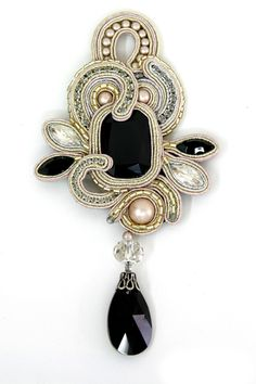 Desiree dramatic black onyx pin by Dori Csengeri Soutache Pendant, Soutache Necklace, Bridal Necklace, Handmade Beaded Jewelry, Handcrafted Jewelry, Victorian Jewelry, Antique Jewelry, Bead Embroidery Jewelry, Beaded Embroidery
