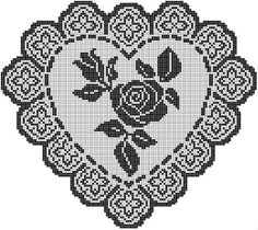 Free filet crochet chart for a rose and heart doily. Filet Crochet Charts, Crochet Doily Patterns, Crochet Diagram, Crochet Motif, Crochet Designs, Crochet Doilies, Crochet Stitches, Fillet Crochet, Cross Stitch Heart