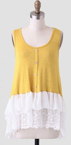 sweet #yellow lace bottom blouse http://rstyle.me/n/mgh2hr9te