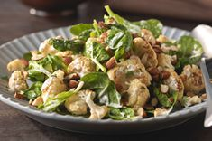 Indian Roasted Cauliflower-Spinach Salad recipe