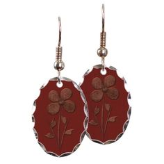 Cute Copper Flower Red Canvas Earring on CafePress.com