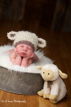 Baby lamb hat newborn photo prop hand knit curly cream by