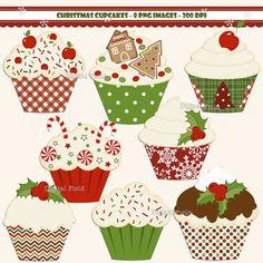 INSTANT DOWNLOAD Christmas Cupcake clip art set  by digitalfield, $3.00