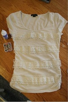 This is a unique way to #reuse an old  T-Shirt. Love the lace addition too.
