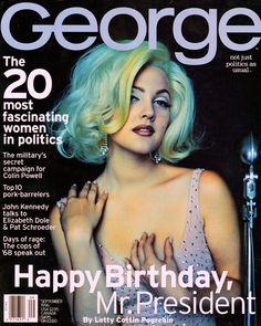 """JFK, Jr. lampoons Marilyn Monroe's famous birthday song to his father, in """"George"""" magazine."""