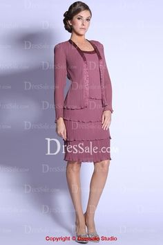 Elegant Knee-length Mother of the Bride Dress with Cropped Jacket