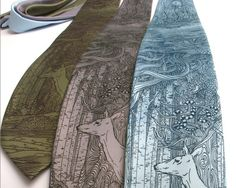 Neck Tie - Tangled Forest Necktie - Deer tie - Surreal Art - Unique Gift for Men Sage Green Tie, Tie Crafts, Unique Gifts For Him, Grey Tie, Surreal Art, Wearable Art, Upcycle, Creations, Shopping
