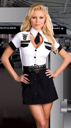 Fly away in this sexy lady pilot costume ditch the tie Police Officer Fancy Dress, Air Hostess Uniform, Sexy Halloween Costumes, Costumes For Women, Adult Costumes, Clubwear, Dress Outfits, Cool Style, Sexy Women
