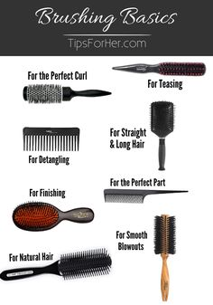 Brushing Basics: A Guide to Hair Brushes - 8 of our favorite hair brushes and what they are used best for. Brushing Basics: A Guide to Hair Brushes - 8 of our favorite hair brushes and what they are used best for. Hair Smoothening, Curly Hair Styles, Natural Hair Styles, Hair Curling Tutorial, Hair Tools, Hair Brush, Fine Hair, Hair Hacks, Hair And Nails